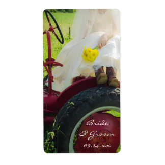 Bride on Tractor Country Wedding Favor Tags Personalized Shipping Label