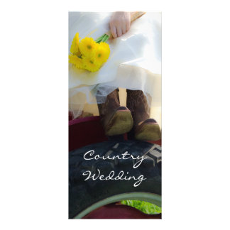 Bride on Tractor Country Wedding Program Personalized Rack Card