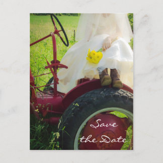 Bride on Tractor Country Wedding Save the Date Announcement Postcard