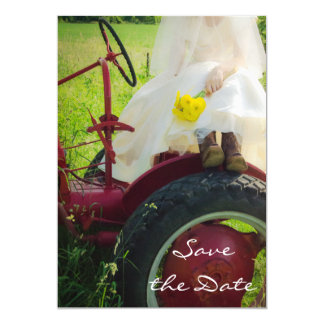 Bride on Tractor Country Wedding Save the Date Invitation