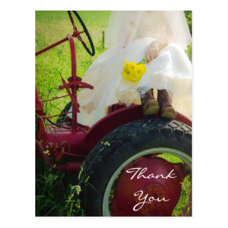 Bride on Tractor Country Wedding Thank You Post Cards