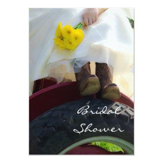 Bride on Tractor Farm Bridal Shower Invitation