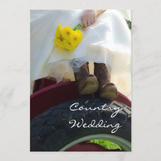 Bride on Tractor Farm Wedding Invitation