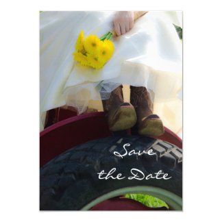 Bride on Tractor Farm Wedding Save the Date Invitation