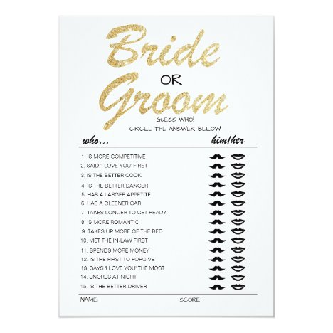 Bride or Groom game fully editable card