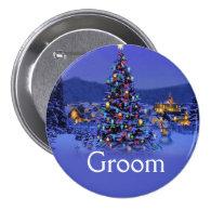 bride or groom vintage Christmas wedding Pin