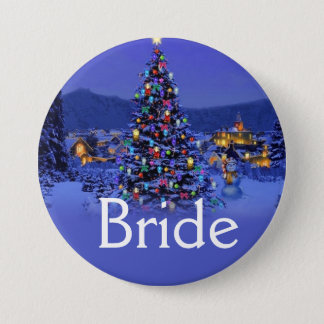 bride or groom vintage Christmas wedding Pinback Button