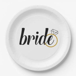 Bride Paper Plates for Engagement or Bridal Shower  sc 1 st  Zazzle : engagement paper plates - Pezcame.Com