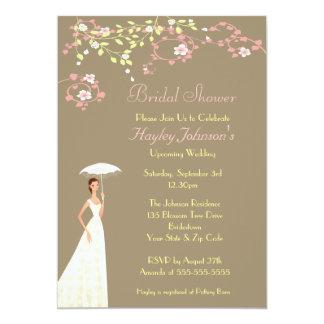"Bride, Parasol & Blossom Bridal Shower 5"" X 7"" Invitation Card"