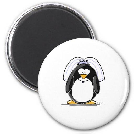 Bride Penguin 2 Inch Round Magnet