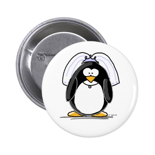 Bride Penguin Pinback Button