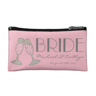 BRIDE Personalized Pink Champagne Bridal Wedding Cosmetic Bag