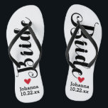 """Bride Personalized Wedding Pick Your Color Flip Flops<br><div class=""""desc"""">Walk in comfort on your wedding day with these personalized flip flops. These can be customized with a bride's name and wedding date. The background is white, however you can change the color by clicking on Customize It. Because of the dark text, this design looks best with a light colored...</div>"""