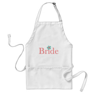 Bride Pink and Turquoise Flower Adult Apron
