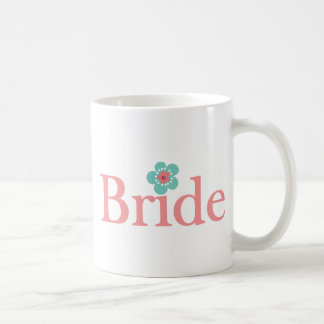 Bride Pink and Turquoise Flower Coffee Mug