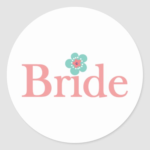 Bride Pink and Turquoise Flower Classic Round Sticker