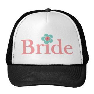 Bride Pink and Turquoise Flower Trucker Hat