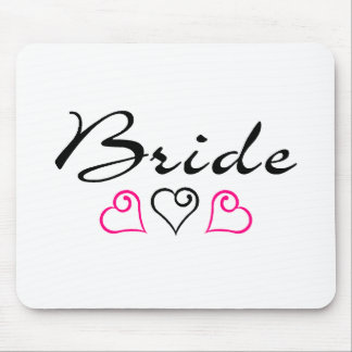 Bride Pink Black Hearts Mouse Pad