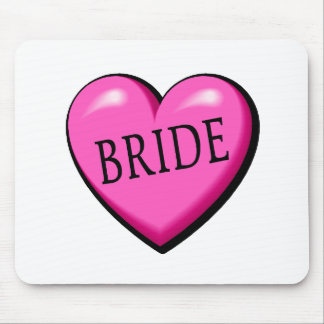 Bride Pink Black Wedding Heart Mouse Pad