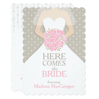 Bride pink bouquet graphic bridal shower invite