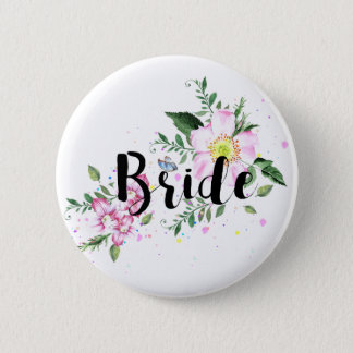 Bride Pink Floral Watercolor Wedding Bridal Shower Button