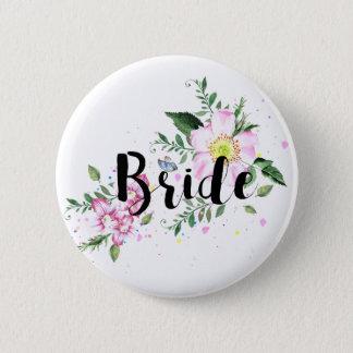 Bride Pink Floral Watercolor Wedding Bridal Shower Button
