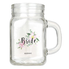 Bride Pink Floral Watercolor Wedding Bridal Shower Mason Jar at Zazzle