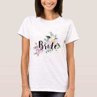 Bride Pink Floral Watercolor Wedding Bridal Shower T-Shirt