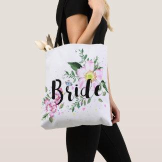 Bride Pink Floral Watercolor Wedding Bridal Shower Tote Bag