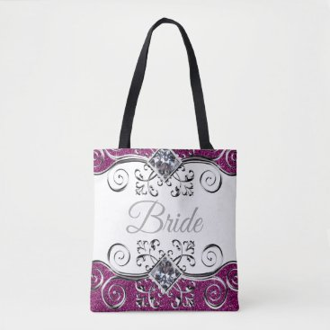 Bride Themed Bride Pink Glitter Silver Swirls Jewel Tote Bag
