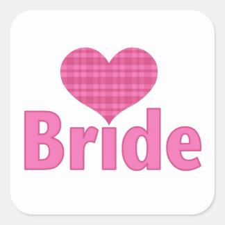 Bride (pink heart) square sticker