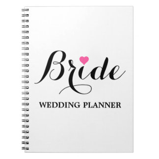Bride Pink Heart Wedding Planner Notebook Wht