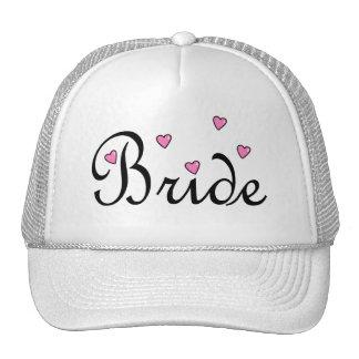 Bride Pink Hearts Mesh Hats