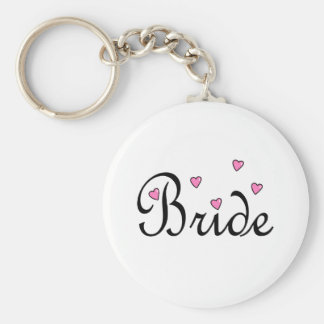 Bride Pink Hearts Key Chains