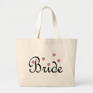 Bride Pink Hearts Large Tote Bag