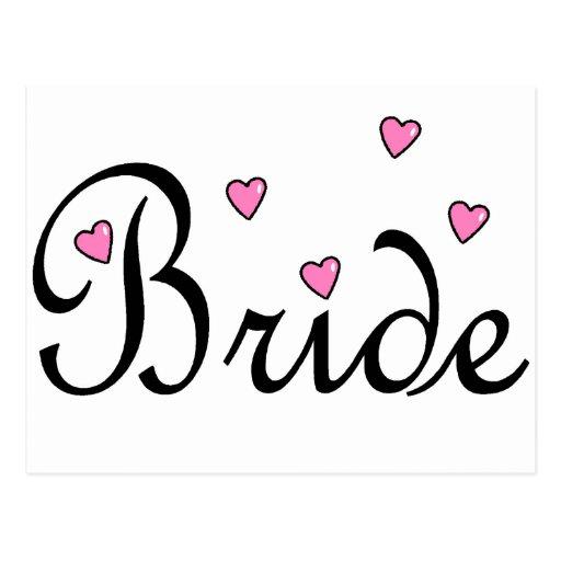 Bride Pink Hearts Postcard