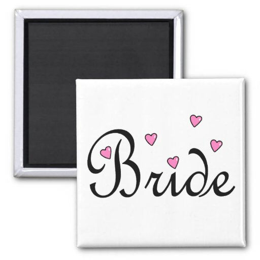 Bride Pink Hearts Refrigerator Magnets