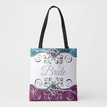 Bride Themed Bride Pink   Teal Glitter Silver Swirls Bling Tote Bag