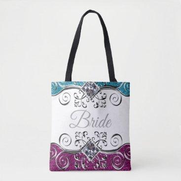 Bride Pink   Teal Glitter Silver Swirls Bling Tote Bag