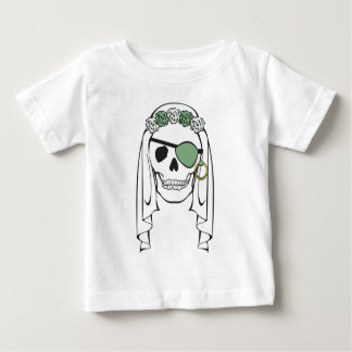 Bride Pirate Skull Green Baby T-Shirt
