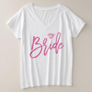 Bride Plus-Size V-Neck T-Shirt Pink Diamond
