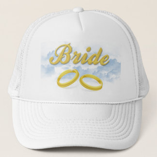Bride, Puffy Clouds Blue Sky Design Trucker Hat