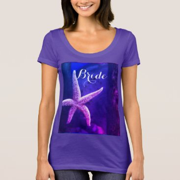 Beach Themed Bride Purple Beach Weddings Starfish Modern Cool T-Shirt