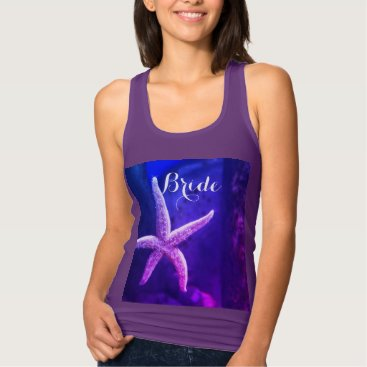 Beach Themed Bride Purple Beach Weddings Starfish Modern Trendy Tank Top