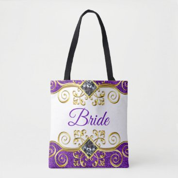 Bride Themed Bride Purple Glitter Gold Bling Jewel Tote Bag