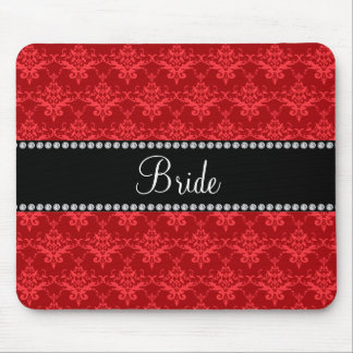 Bride red damask gifts mouse pad