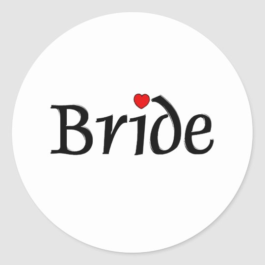 Bride (Red Hearts) Classic Round Sticker