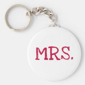 Bride Red Text Mrs. Basic Round Button Keychain