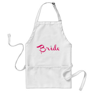 Bride Retro Script Hot Pink Adult Apron