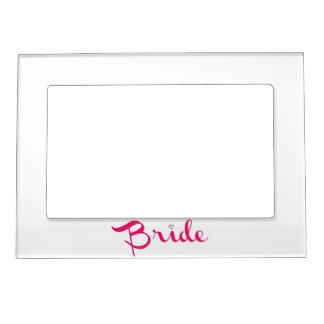Bride Retro Script Hot Pink Magnetic Frame